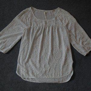Lauren Conrad Small White Blue Chiffon Shirt